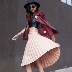 Zara Pleated Blush Midi Skirt Size XS